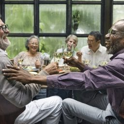 Friends enjoying a dinner party.